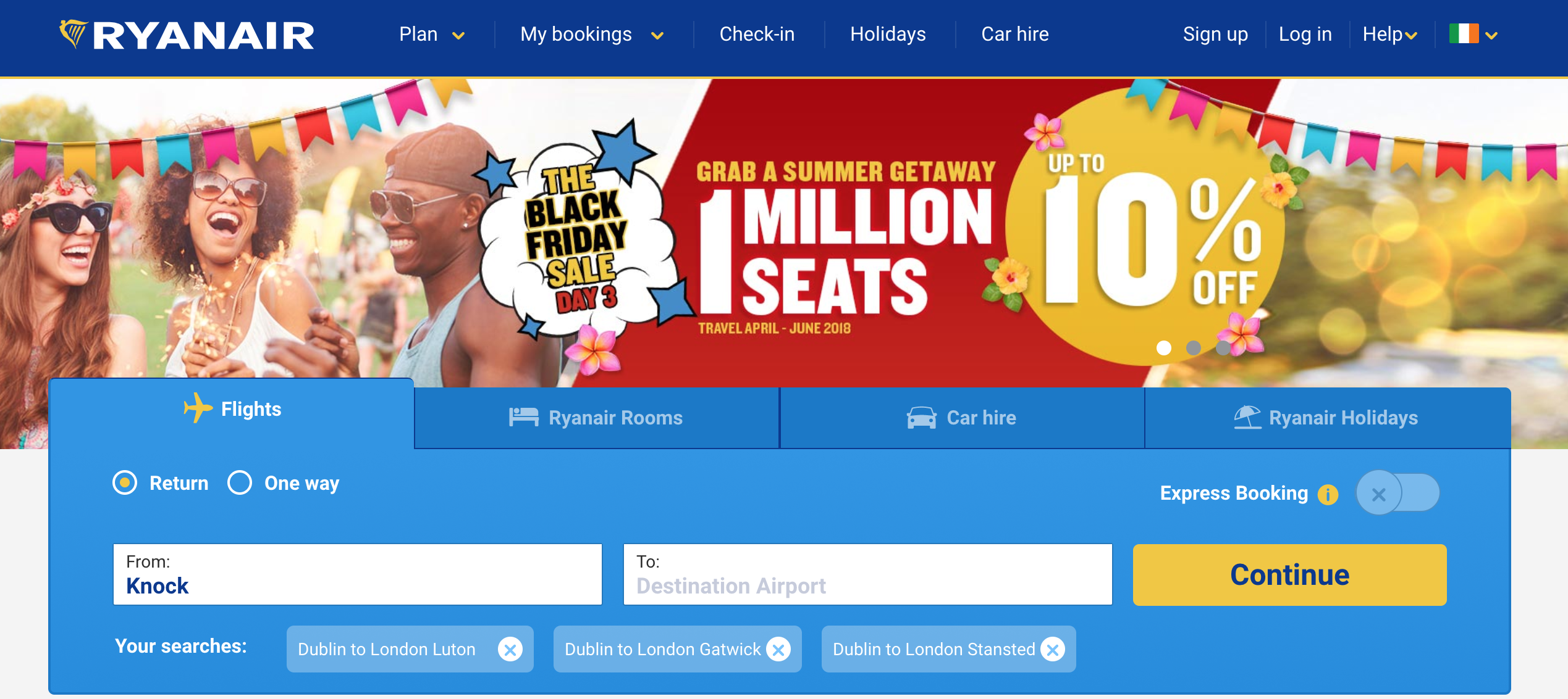 RyanAir Black Friday sale promotion