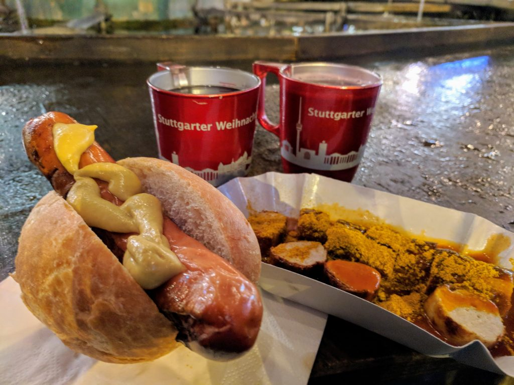 Rote wurst with mustard, currywurst, and glühwein