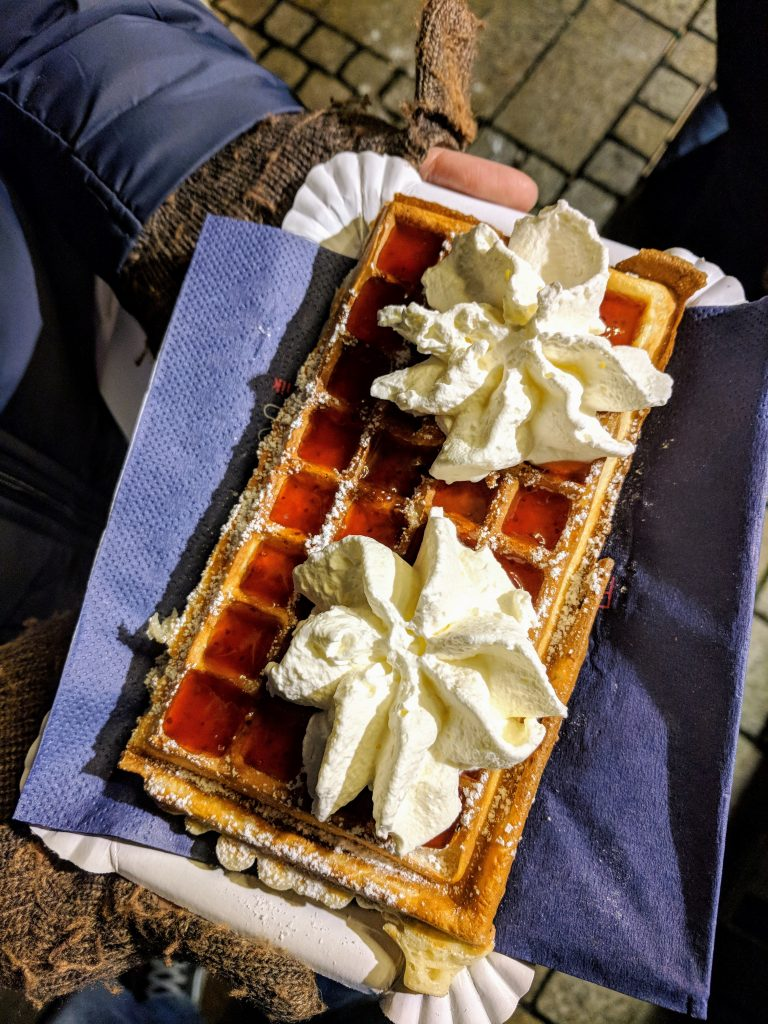 Strawberries and cream waffle