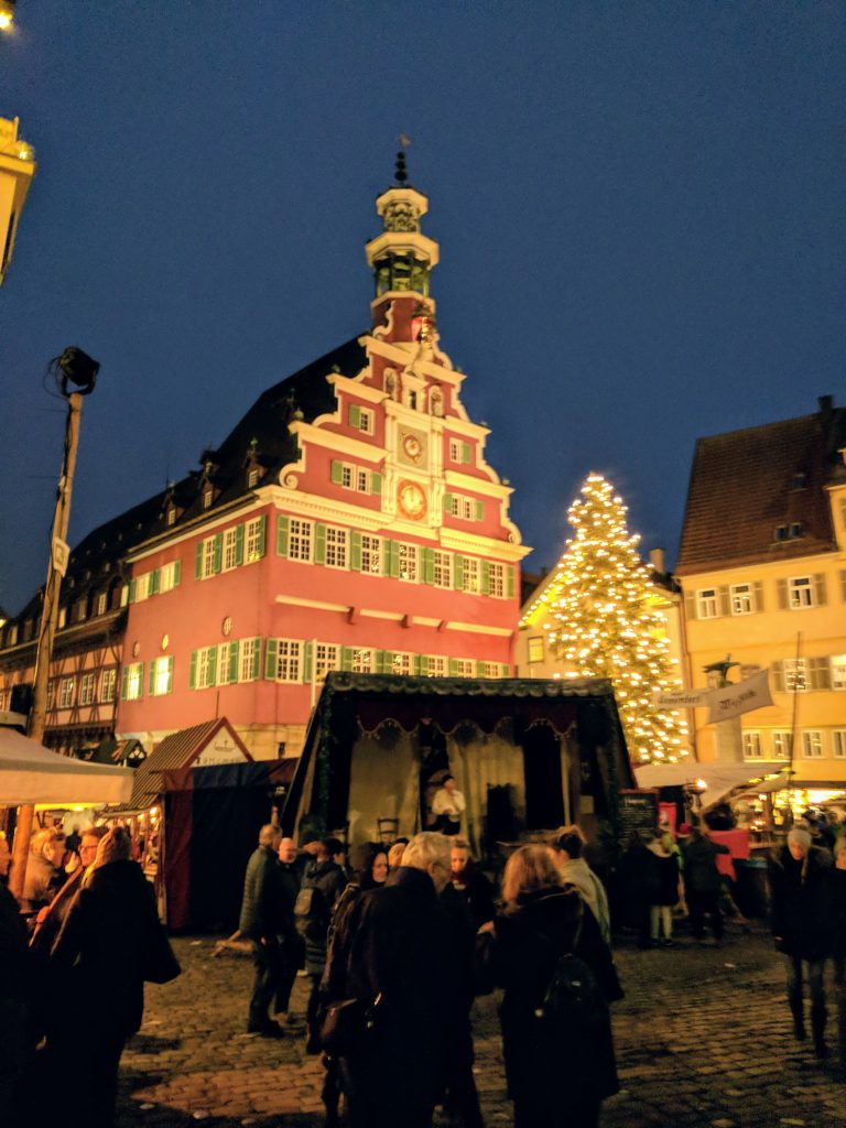 The 15th-century Rathaus looms over Esslingen's market