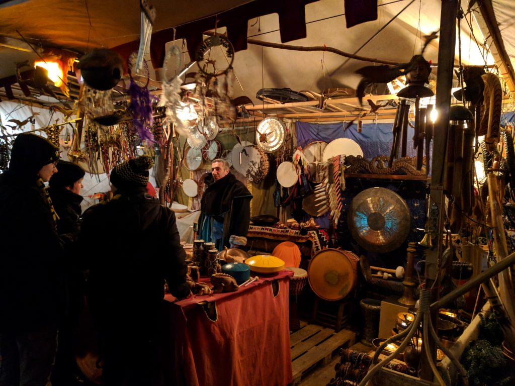 Vendors selling drums and dreamcatchers at Esslingen