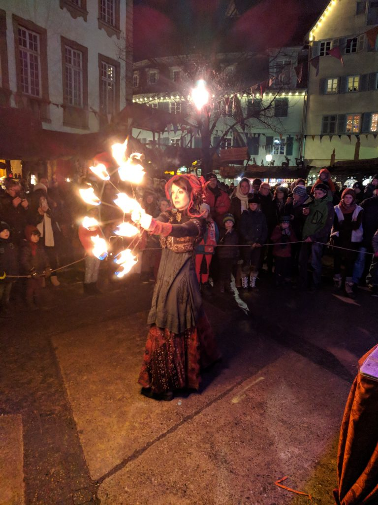 Fire dancer at Esslingen Christmas market