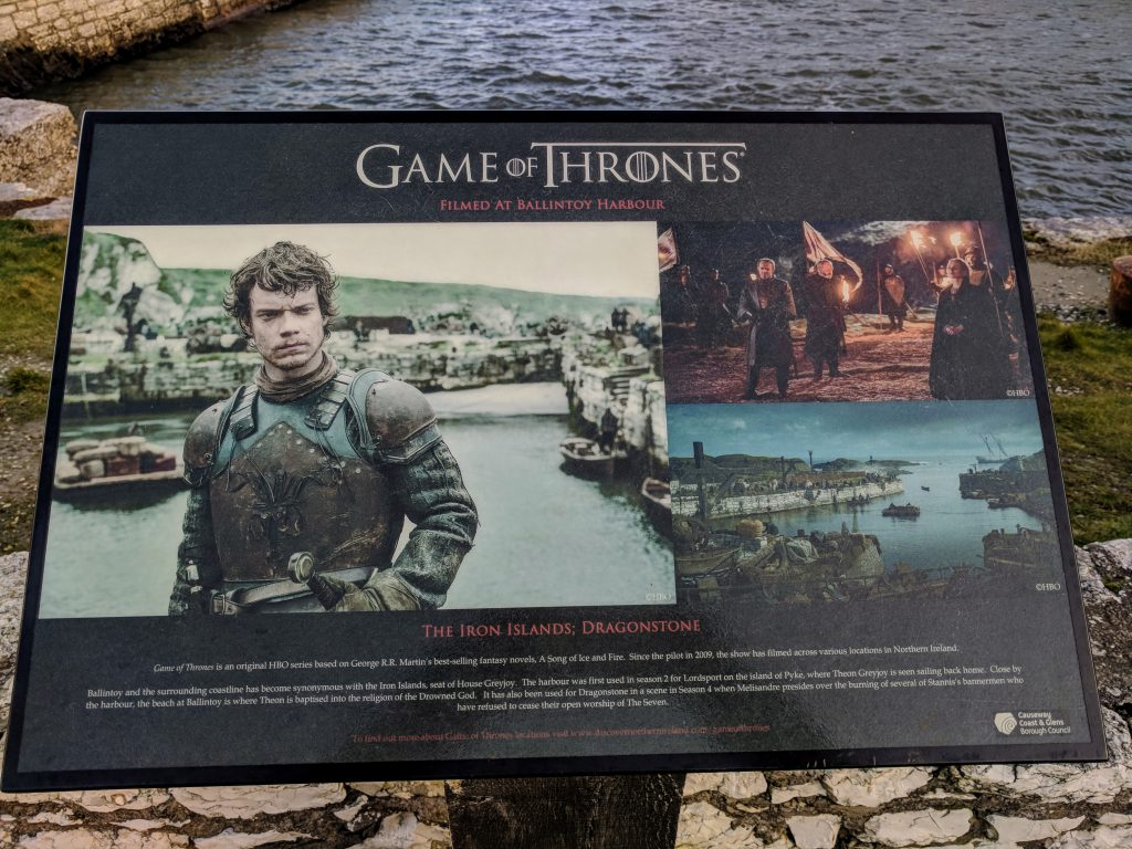 Game of Thrones sign at Ballintoy Harbour
