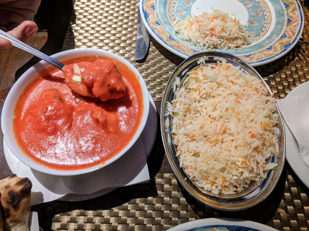 Chicken tikka masala + rice from Moghul