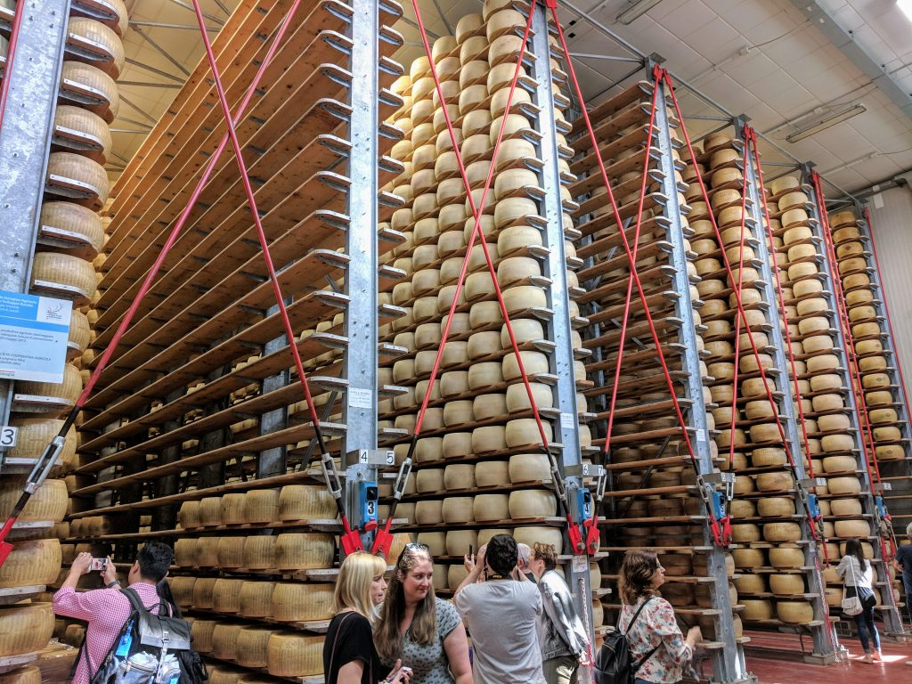 wheels of Parmigiano Reggiano cheese at 4 Madonne Caseificio dell'Emilia