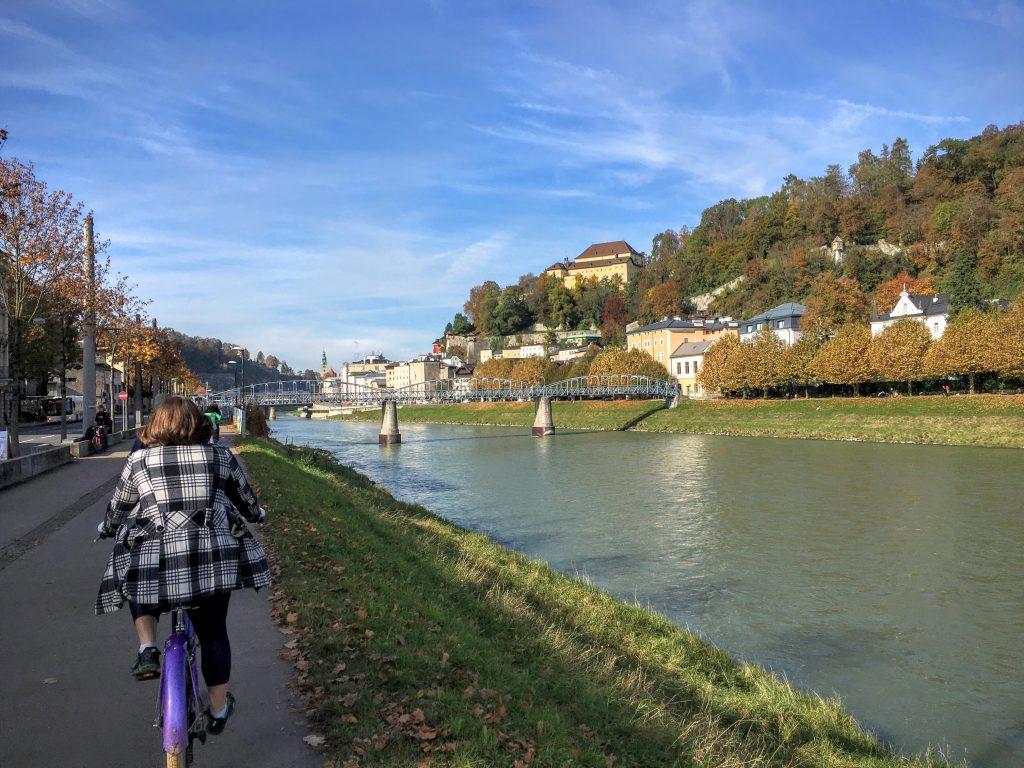 Salzach River with Mozartsteg in the background, Salzburg, Austria