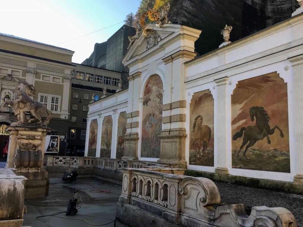 horse frescoes at Pferdeschwemme in Salzburg, Austria