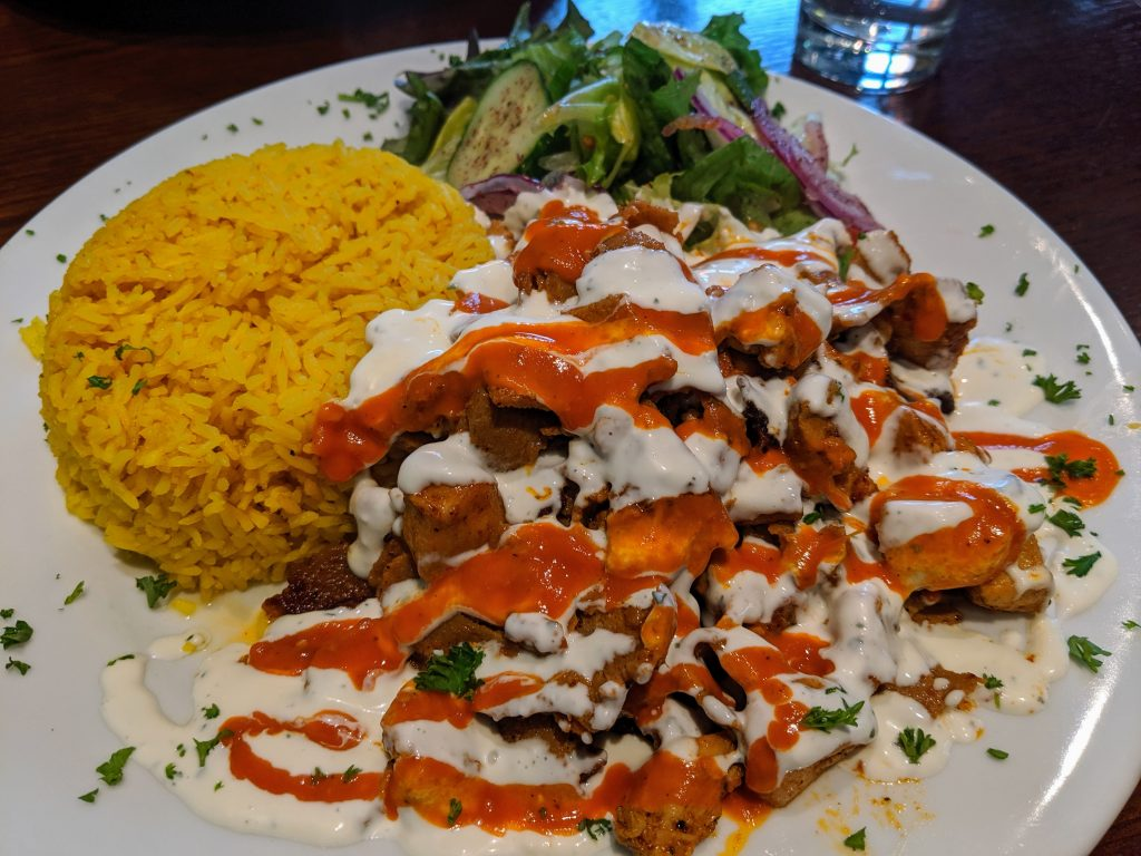 Mixed kebab over rice from Cafe Oasis, Dublin, Ireland